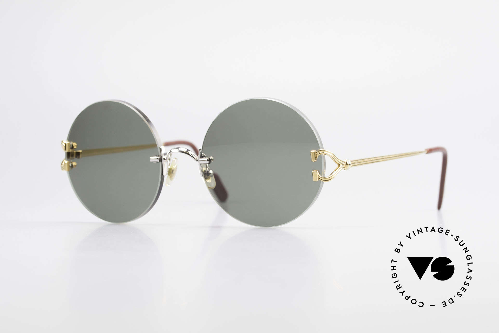 Cartier Madison Round Customized Sunglasses, noble rimless CARTIER luxury sunglasses from 1997, Made for Men and Women