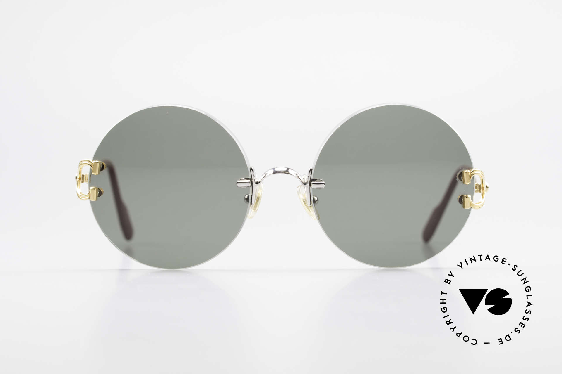 Cartier Madison Round Customized Sunglasses, precious round designer shades; 22ct GOLD-PLATED, Made for Men and Women
