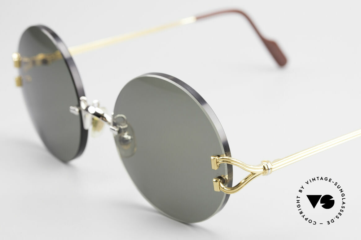 Cartier Madison Round Customized Sunglasses, with new CR39 UV400 lenses in gray-green G15 color, Made for Men and Women