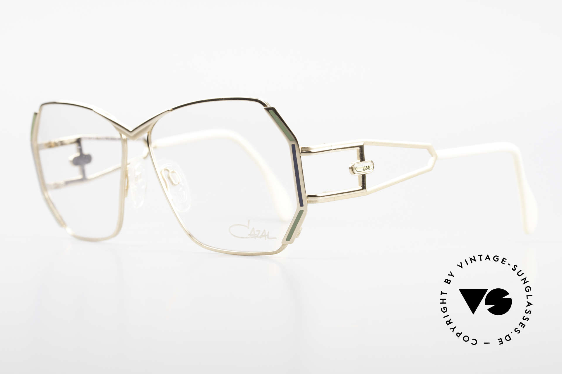 Cazal 225 Old School HipHop Frame 80's, great frame design by Cari Zalloni with fancy temples, Made for Women