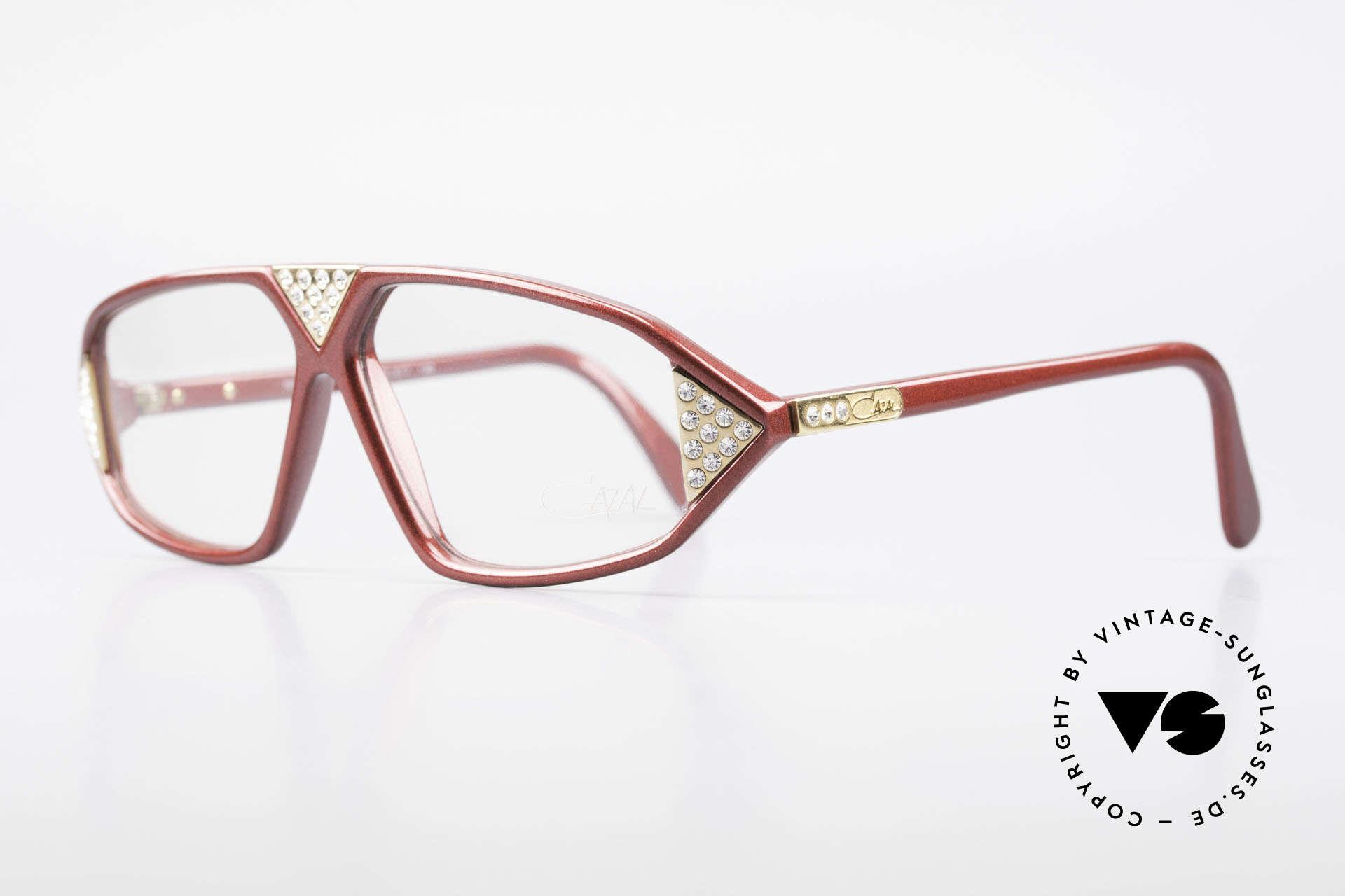 Cazal 199 80's Rhinestone Eyeglasses, noble rhinestone appliqué on the red frame, Made for Women