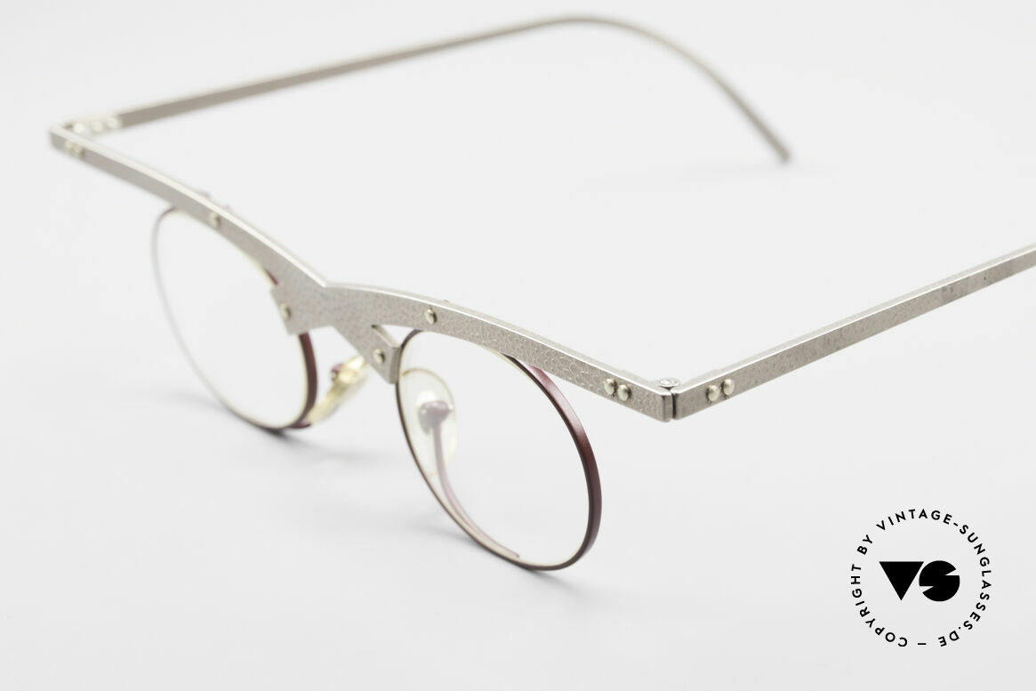 Theo Belgium Hie 3R Crazy Vintage Eyeglasses 90's, crazy 1990's metal eyeglasses in top-quality; art object!, Made for Women
