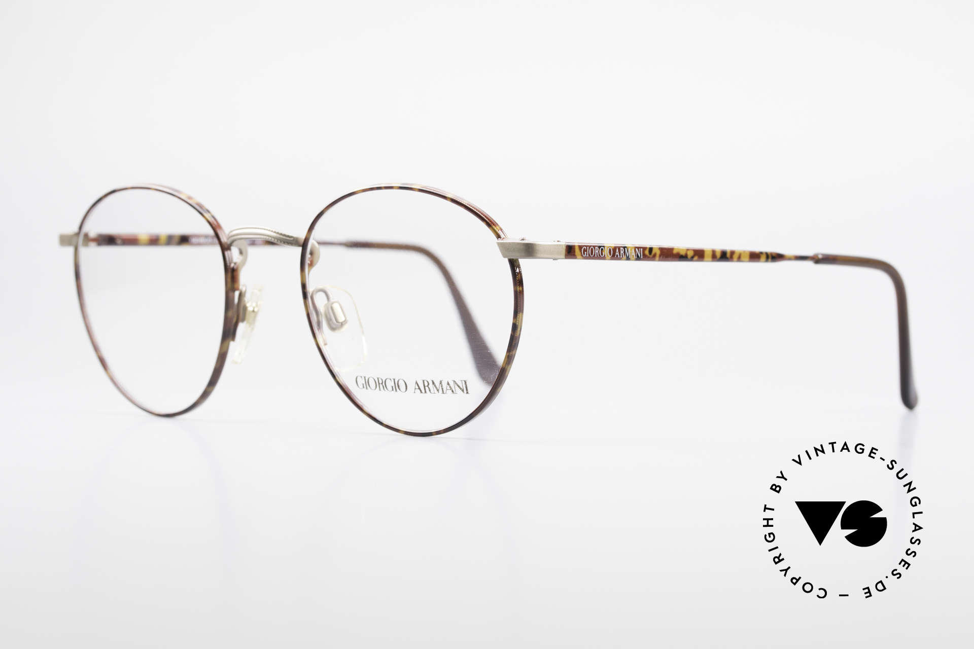 Giorgio Armani 166 No Retro Glasses 80's Panto, very noble frame finish in gray and chestnut brown, Made for Men