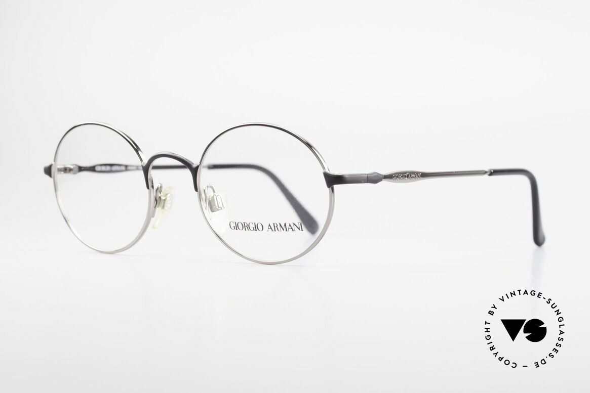Giorgio Armani 243 Round Oval Glasses 90s Small, sober, timeless style with black and silver finish, Made for Men and Women