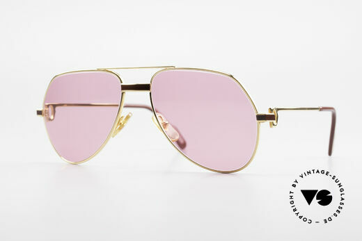 Cartier Vendome Laque - S 80's Luxury Sunglasses Pink Details