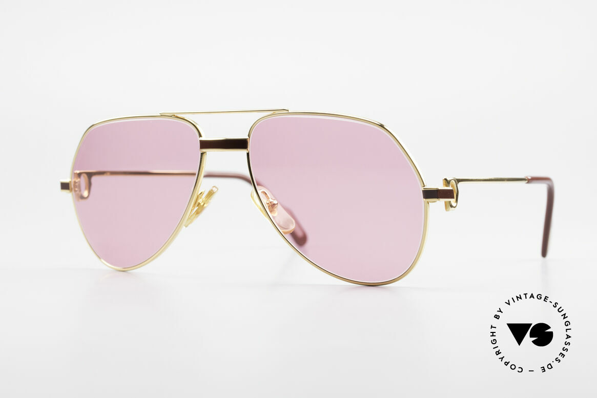 Cartier Vendome Laque - S 80's Luxury Sunglasses Pink, Vendome = the most famous eyewear design by CARTIER, Made for Men and Women