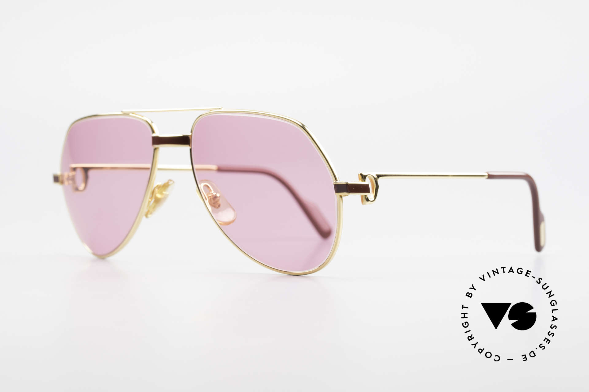 Cartier Vendome Laque - S 80's Luxury Sunglasses Pink, this pair (with LAQUE decor) in SMALL size 56-16, 135, Made for Men and Women