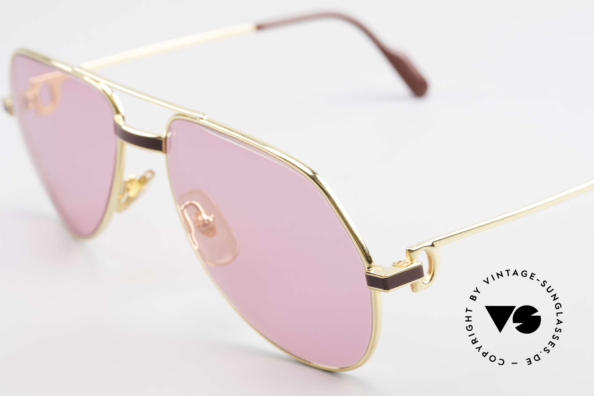 Cartier Vendome Laque - S 80's Luxury Sunglasses Pink, luxury frame (22ct gold-plated) with full orig. packing!, Made for Men and Women