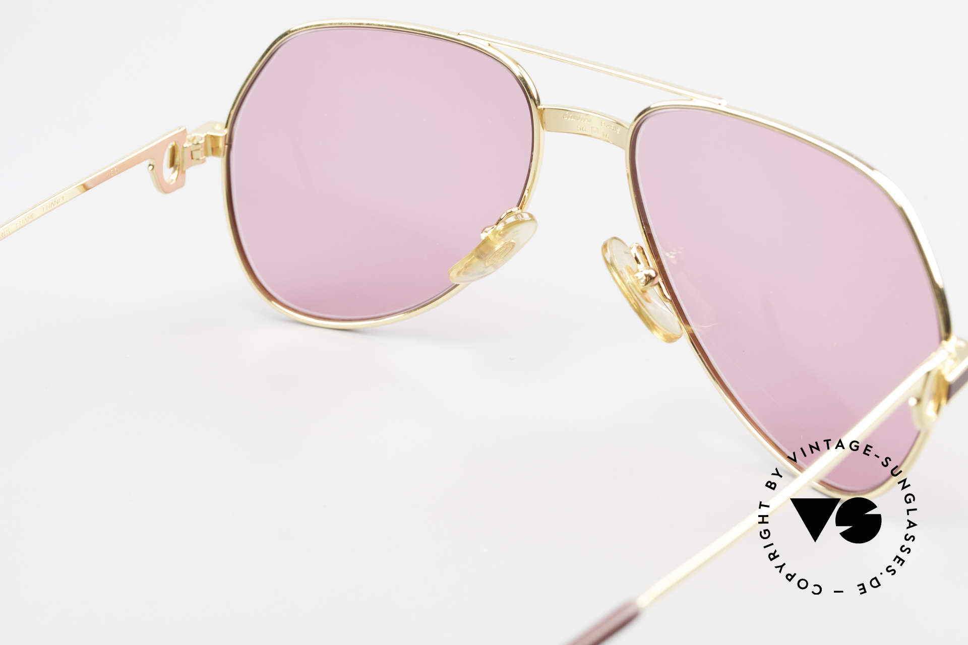 Cartier Vendome Laque - S 80's Luxury Sunglasses Pink, with new PINK sun lenses; unisex (100% UV protection), Made for Men and Women