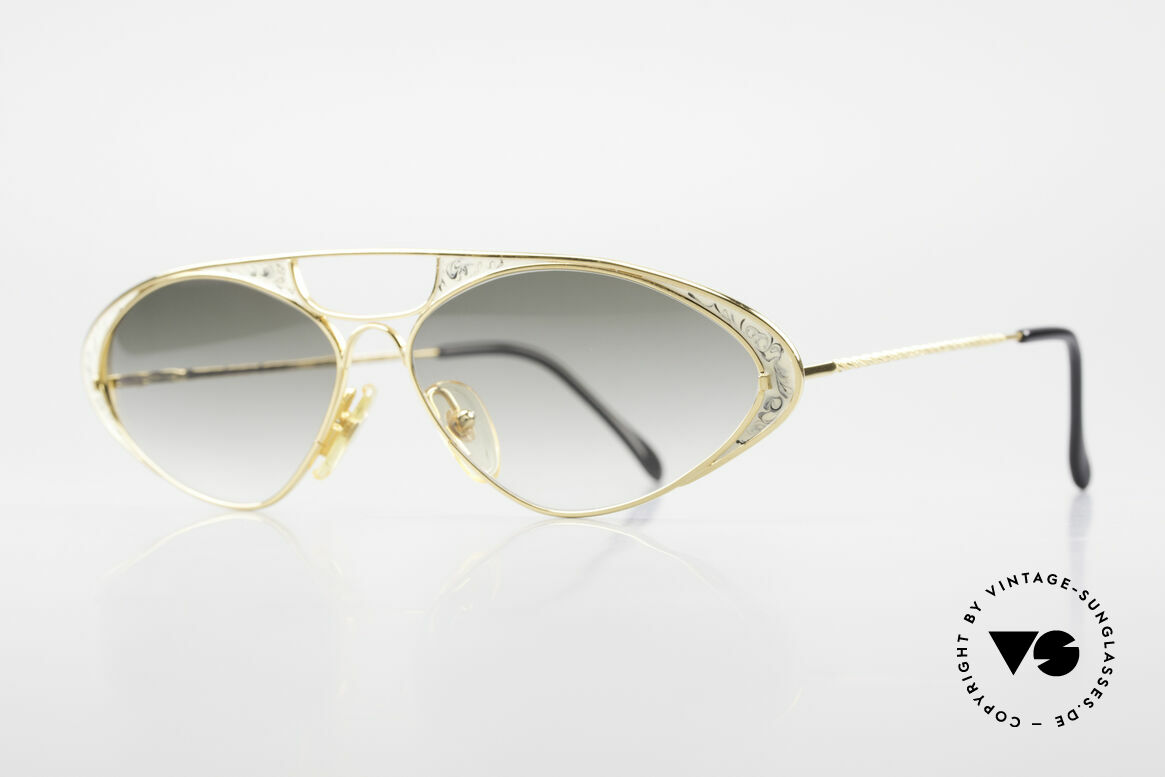 Casanova LC8 Vintage Sunglasses Ladies, gold-plated frame with gray/green-gradient sun lenses, Made for Women
