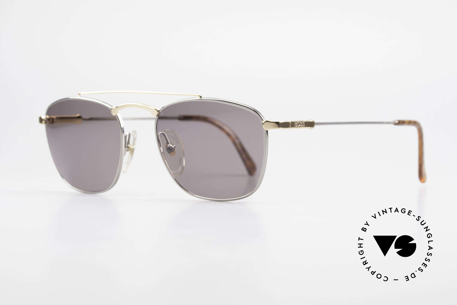 BOSS 5172 True Vintage 90's Sunglasses, bicolored metal frame: gold and silver components, Made for Men