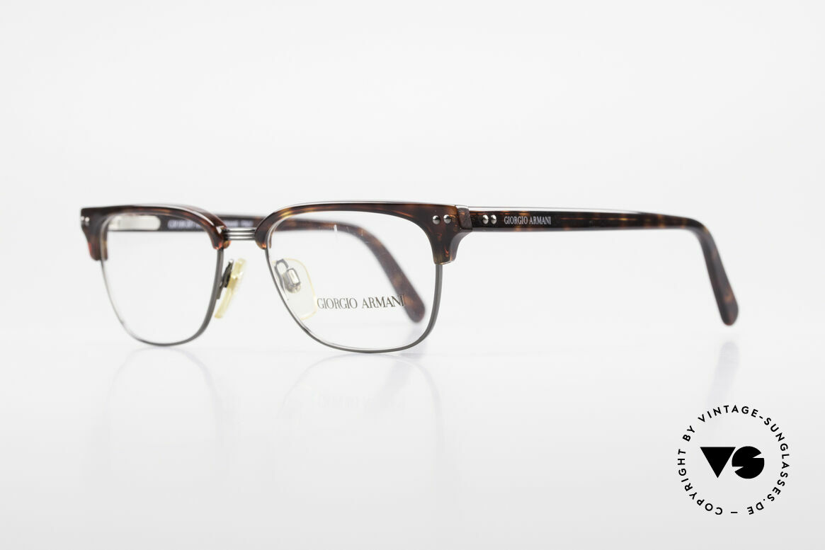 Giorgio Armani 381 Vintage Specs Clubmaster Style, true 'gentlemen glasses' in top-quality (spring hinges), Made for Men