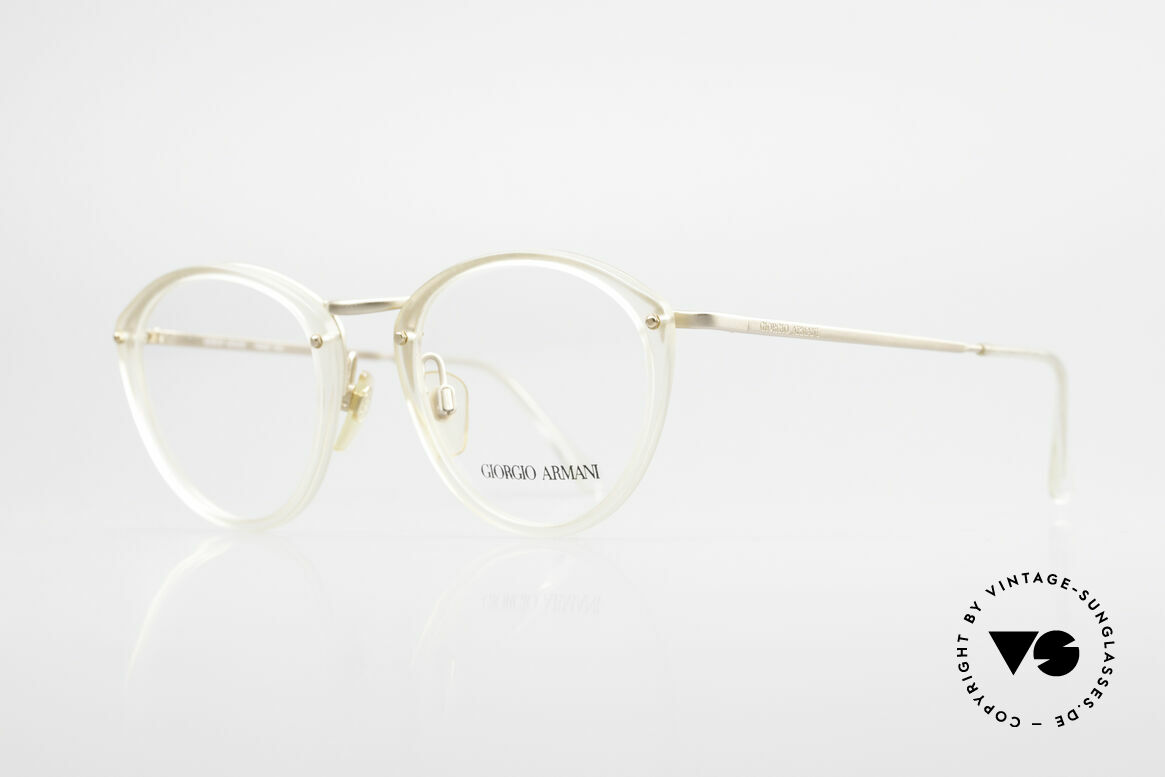Giorgio Armani 354 80s Designer Glasses Vintage, translucent frame front with dulled gold metal parts, Made for Men and Women