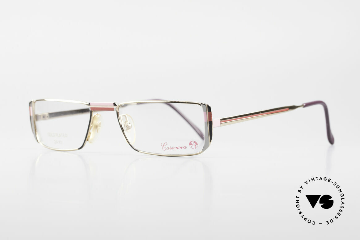 Casanova NM3 Gold Plated Reading Glasses, black/red/pink pattern on the front & on the temples, Made for Women