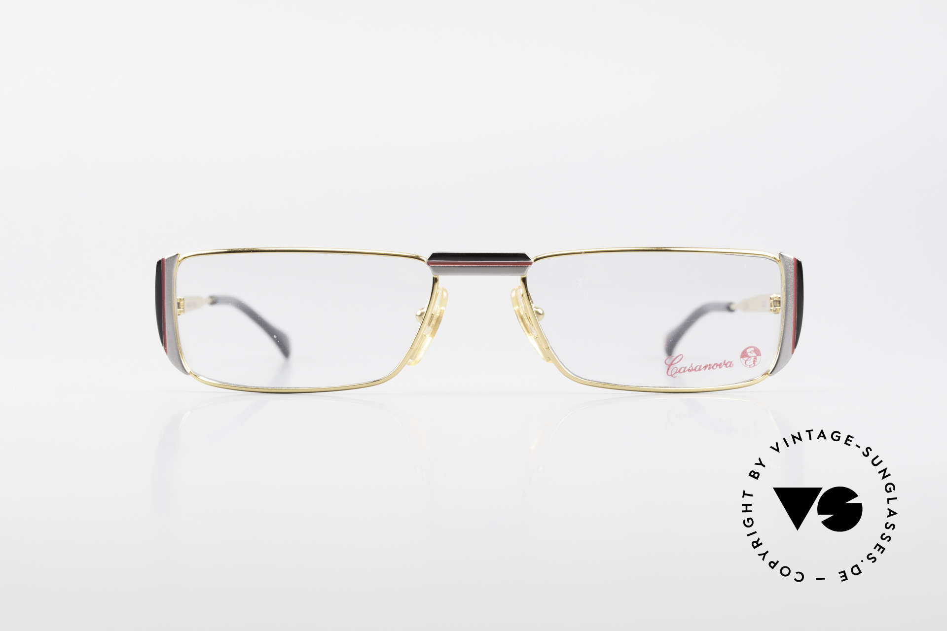 Casanova NM3 Square Reading Eyeglasses 80s, gold-plated frame (a matter of course, at that time), Made for Men and Women
