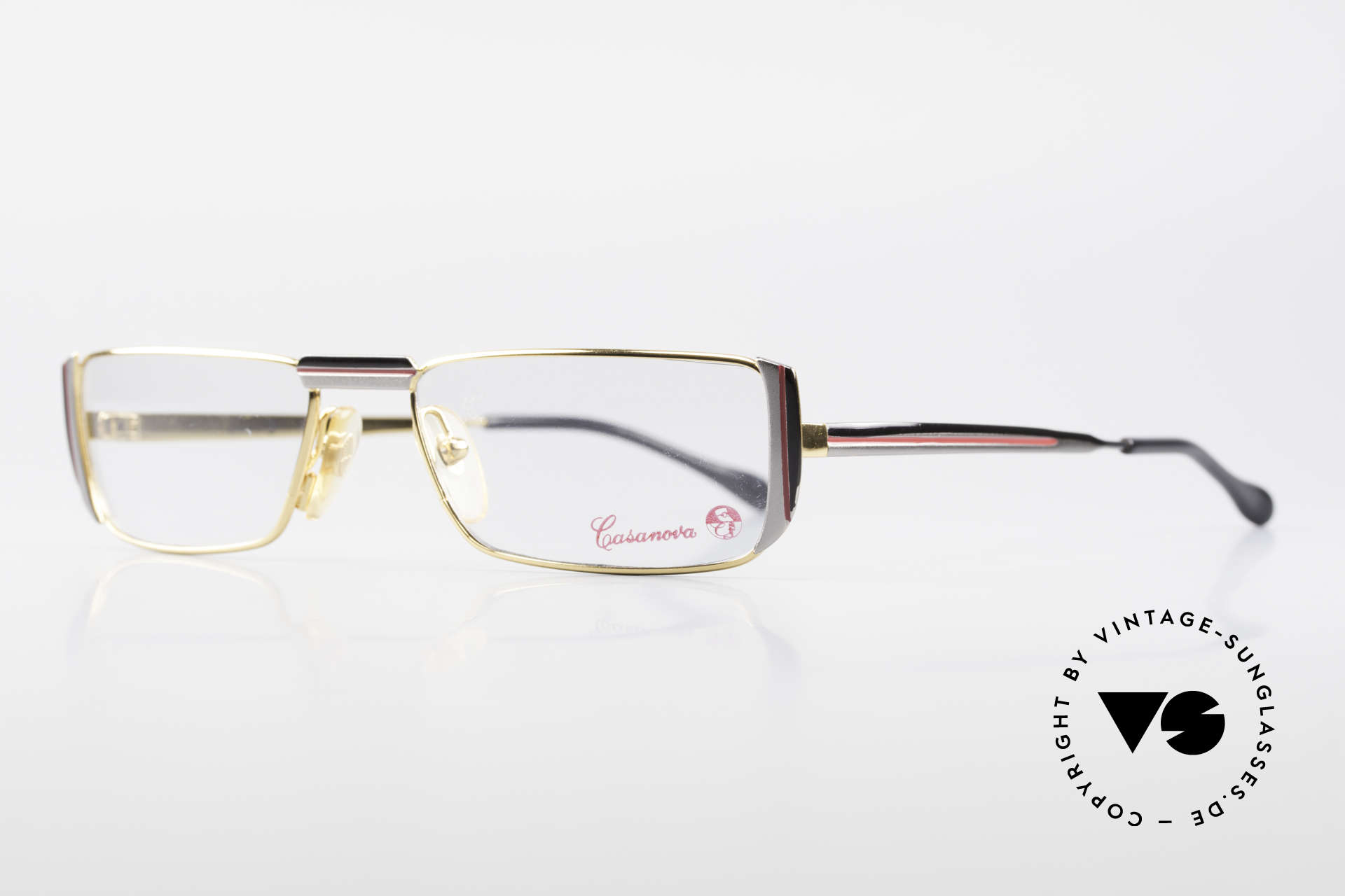 Casanova NM3 Square Reading Eyeglasses 80s, black/red/gray pattern on the front & on the temples, Made for Men and Women