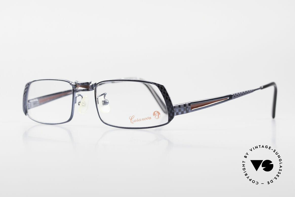 Casanova LC70 Old Vintage Designer Frame, DARK BLUE metallic finish with ruby colored inlays, Made for Men and Women