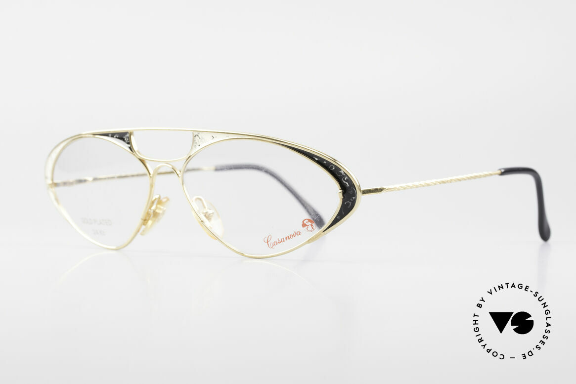 Casanova LC8 80's Vintage Ladies Eyeglasses, 24 carat gold-plated frame with noble finish / coloring, Made for Women