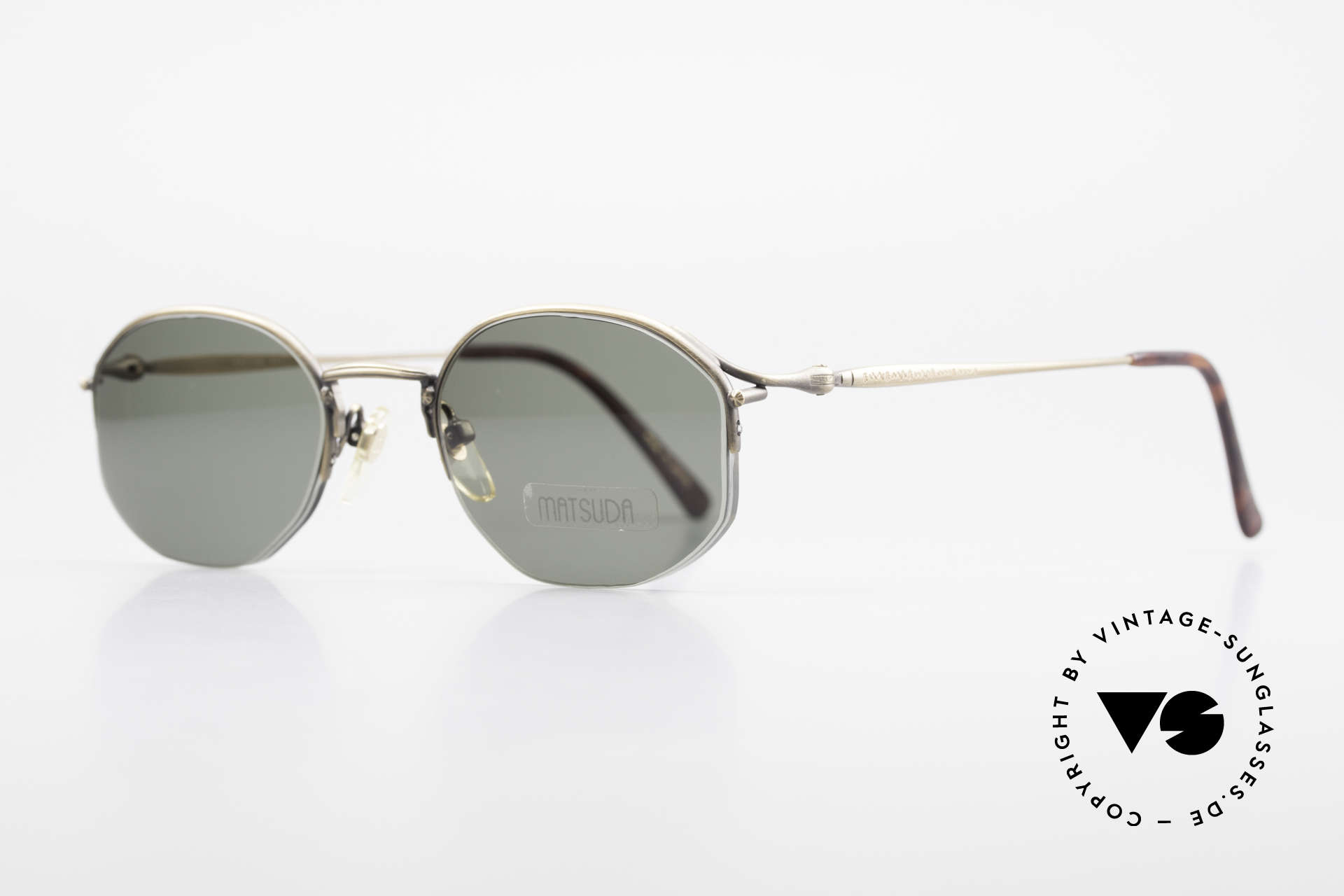 Matsuda 2855 Extraordinary Vintage Frame, the GREEN sun lenses are semi-rimless mounted, Made for Men and Women