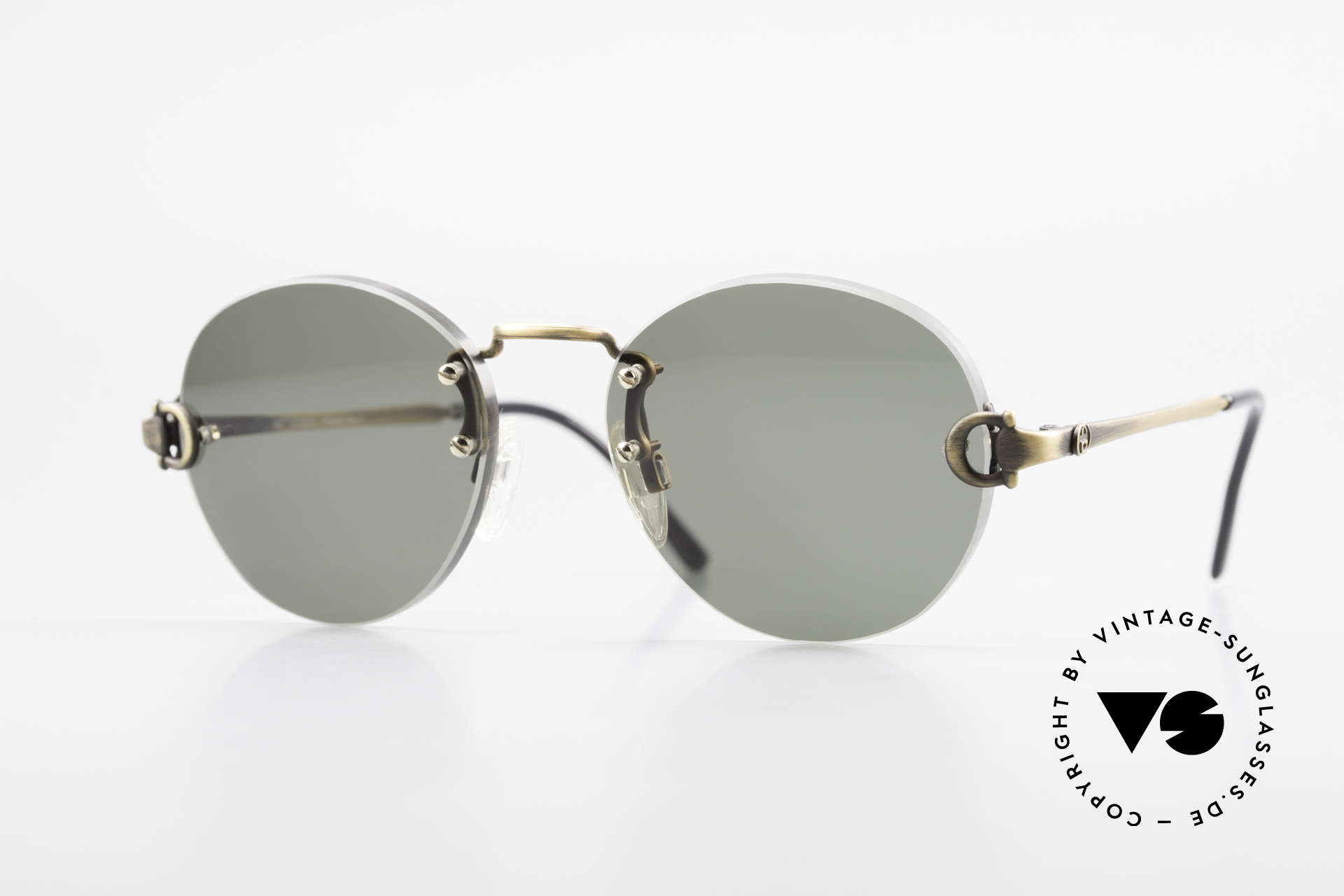 Gucci 2223 Rimless Round Sunglasses, rare vintage RIMLESS 1980's sunglasses by GUCCI, Made for Men and Women