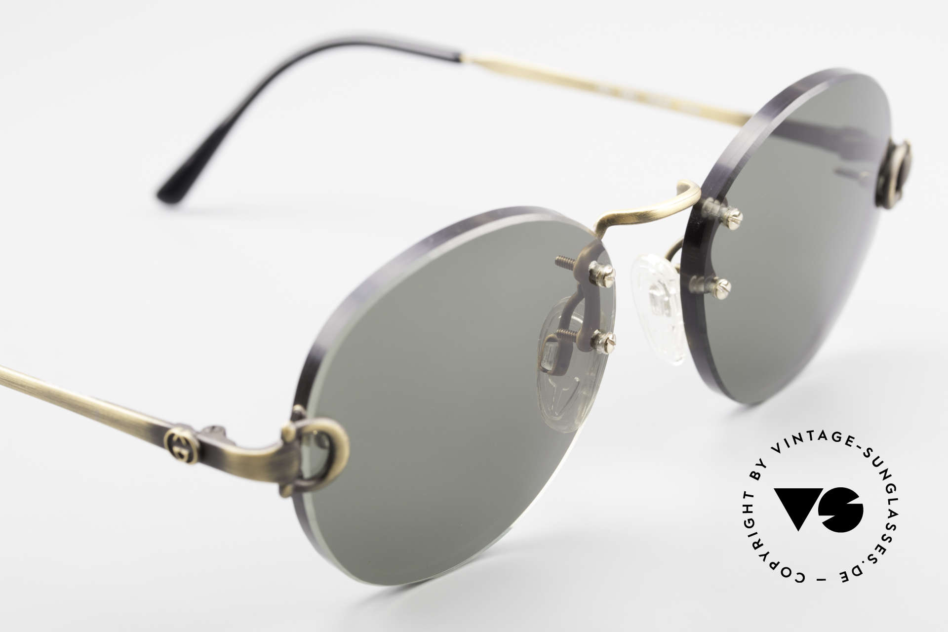 Gucci 2223 Rimless Round Sunglasses, sun lenses can be replaced with optical (sun) lenses, Made for Men and Women