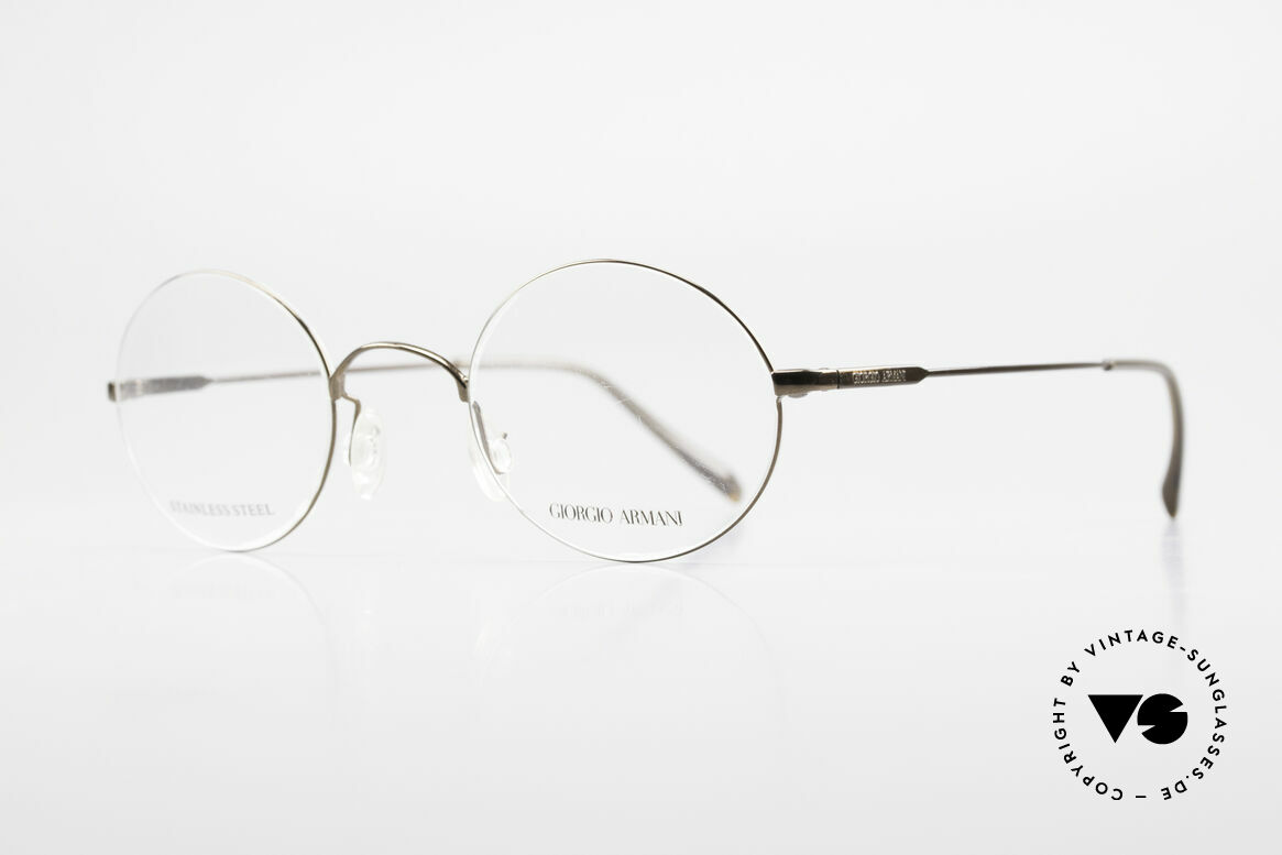 """Giorgio Armani 348 Round Vintage 90's Eyeglasses, interesting frame finish in a kind of """"taupe metallic"""", Made for Men and Women"""