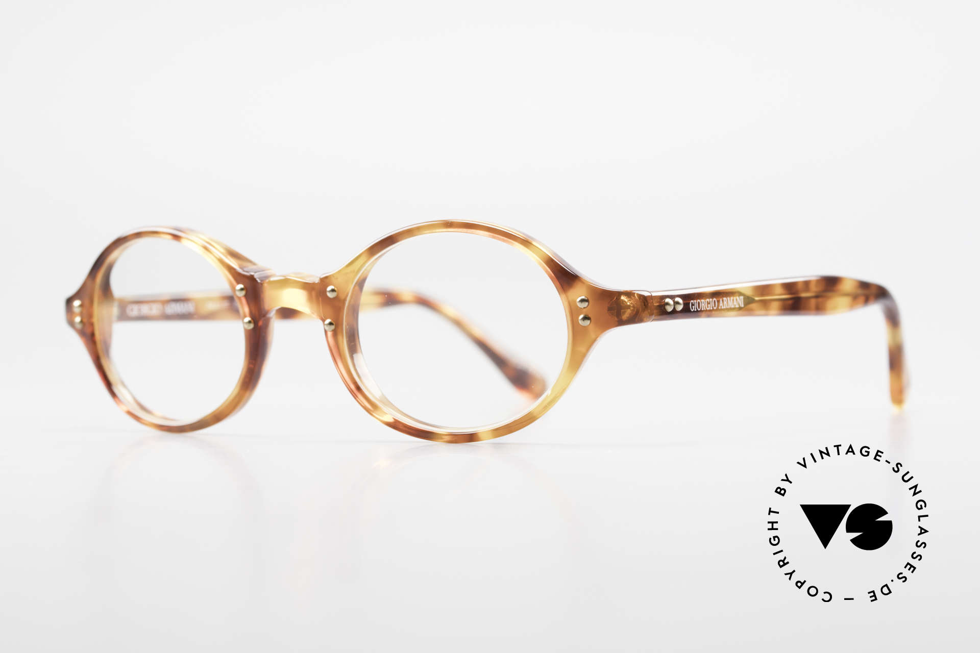 Giorgio Armani 342 Small Oval 90s Eyeglass-Frame, light tortoise frame with golden rivets in TOP-quality, Made for Men and Women