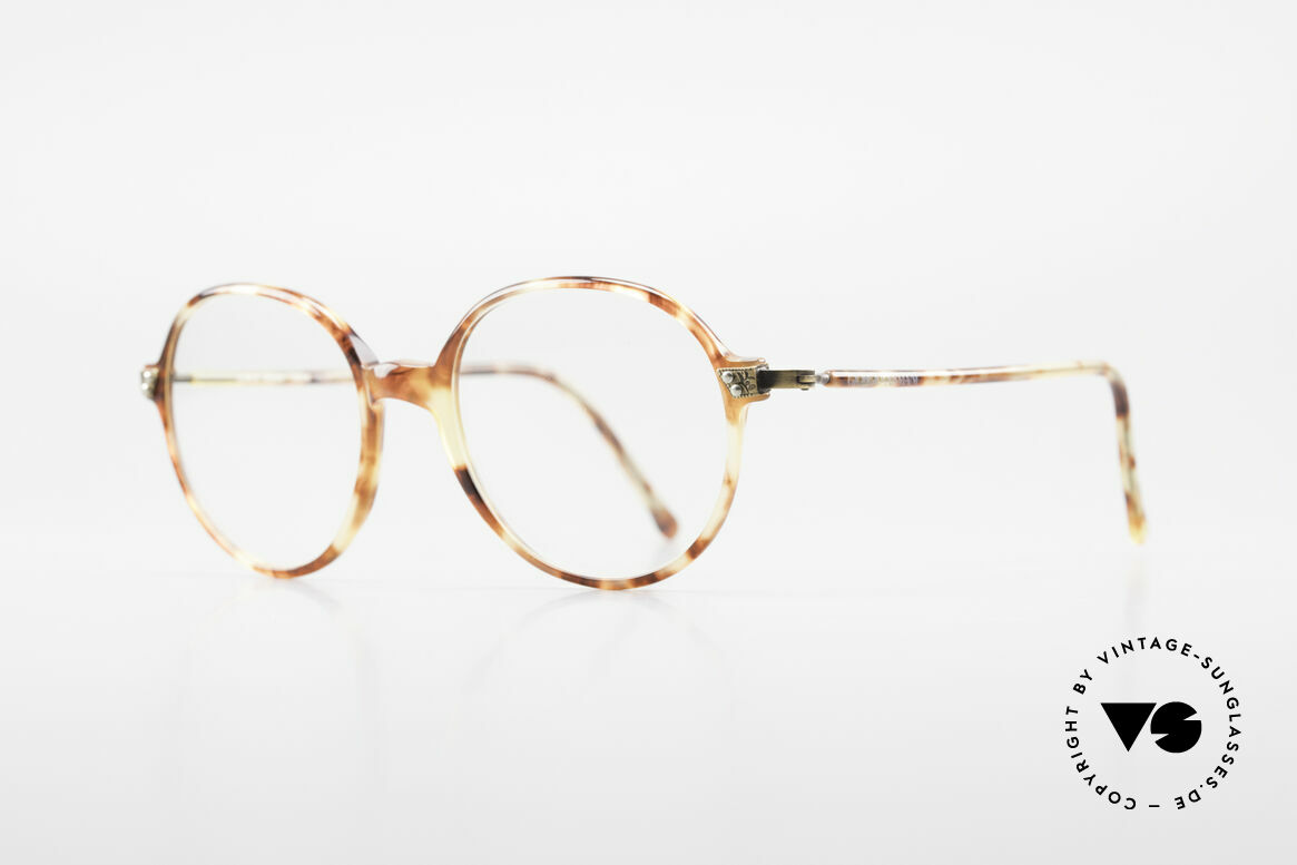 Giorgio Armani 334 Vintage Round Eyeglass-Frame, very elegant tortoise frame texture with brass hinges, Made for Men and Women