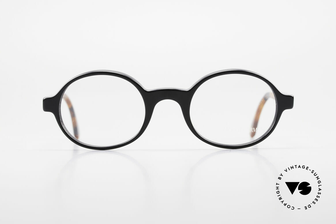 Giorgio Armani 308 Oval 80's Vintage Eyeglasses, oval frame design with black/brown mosaic temples, Made for Men and Women