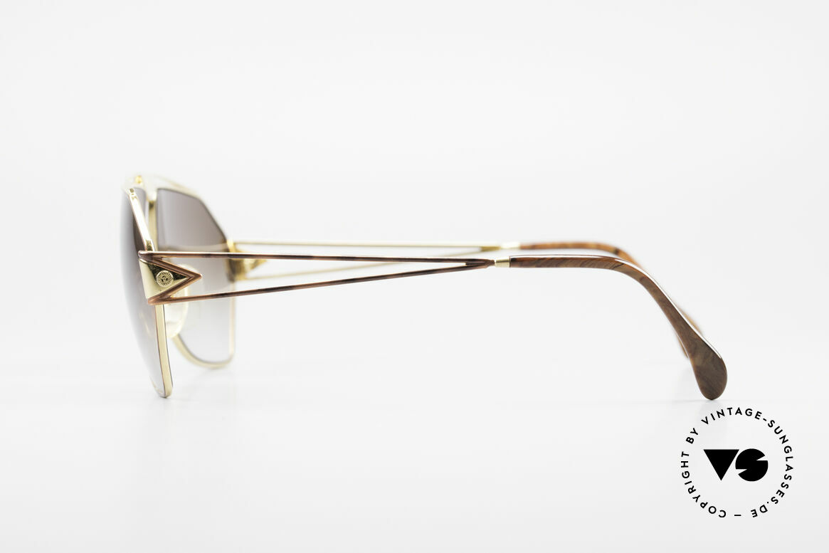"""St. Moritz 403 Rare 80's Jupiter Sunglasses, precious materials (gold-plated and """"root wood"""" decor), Made for Men"""