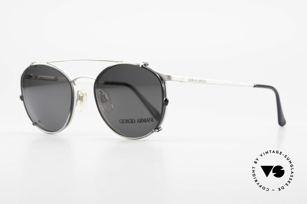 Giorgio Armani 163 Clip On 132 Panto Eyeglasses, 163 frame (dull silver) + mod. 132 clip (antique gray), Made for Men