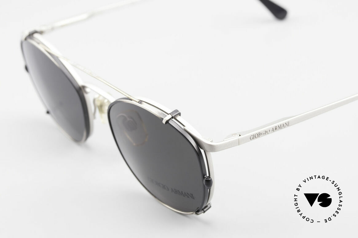Giorgio Armani 163 Clip On 132 Panto Eyeglasses, can be used as sunglasses and prescription eyewear, Made for Men