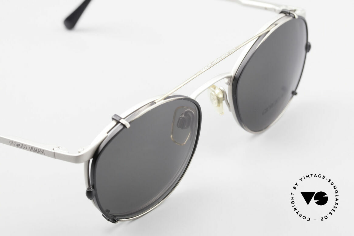 Giorgio Armani 163 Clip On 132 Panto Eyeglasses, unworn (like all our vintage GIORGIO Armani frames), Made for Men