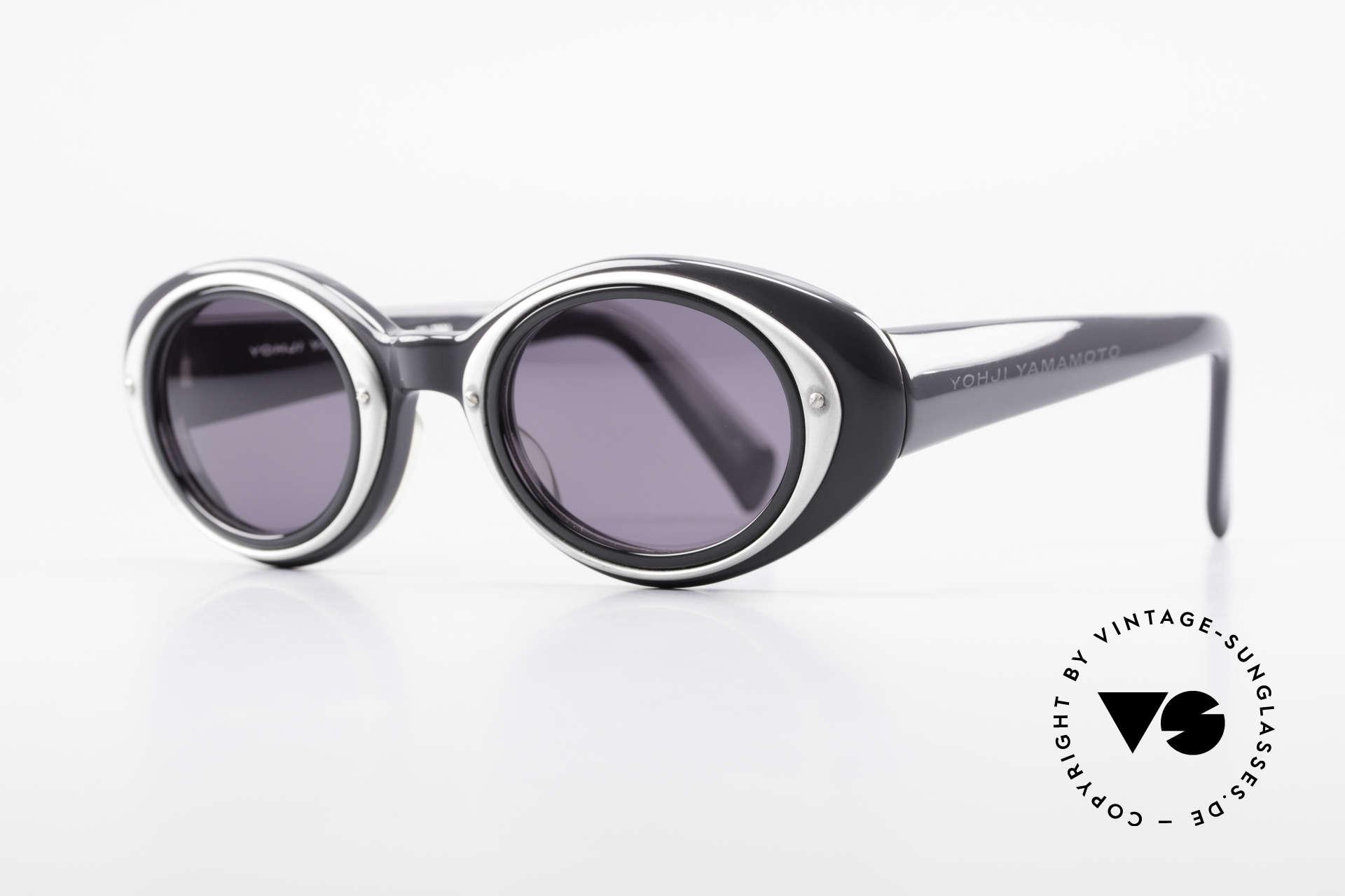 Yohji Yamamoto 52-7001 Sunglasses Kurt Cobrain Style, dark gray plastic frame with silver ornamental cover, Made for Men and Women