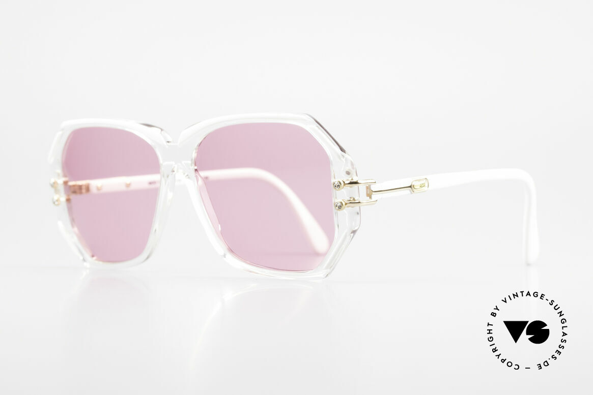 Cazal 169 Pink Vintage Designer Shades, crystal clear frame with white rims; MEDIUM size, Made for Women