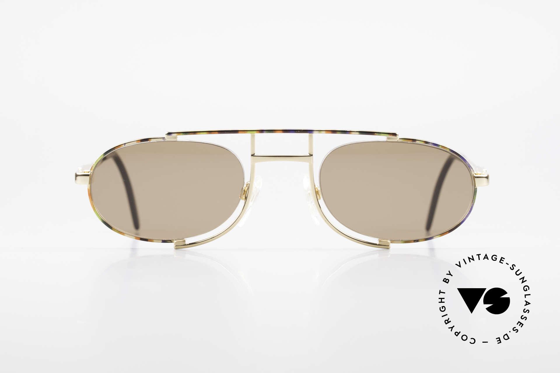 Cazal 753 Rare Oval Designer Sunglasses, extraordinary, semi-rimless frame construction, Made for Men