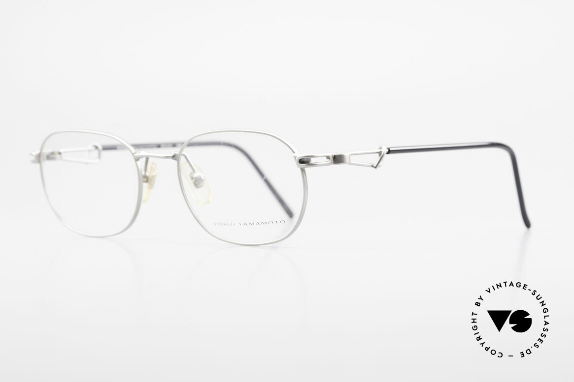 Yohji Yamamoto 51-4113 Titanium Designer Eyeglasses, classic front with interesting temples in 'titan / black', Made for Men and Women