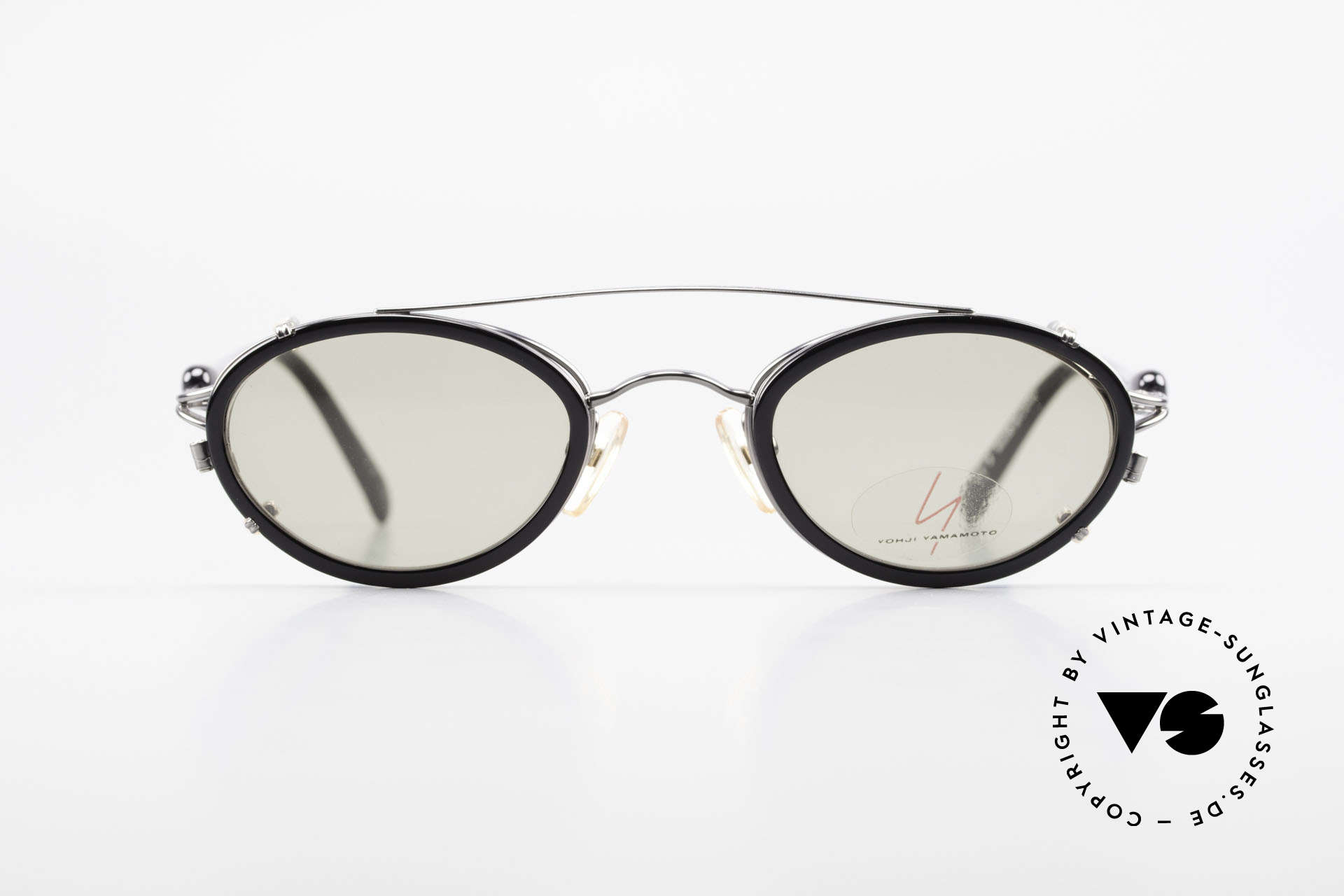 Yohji Yamamoto 51-7210 No Retro Shades Clip-On 90's, designer eyeglasses with practical sun clip; 100% UV, Made for Men and Women
