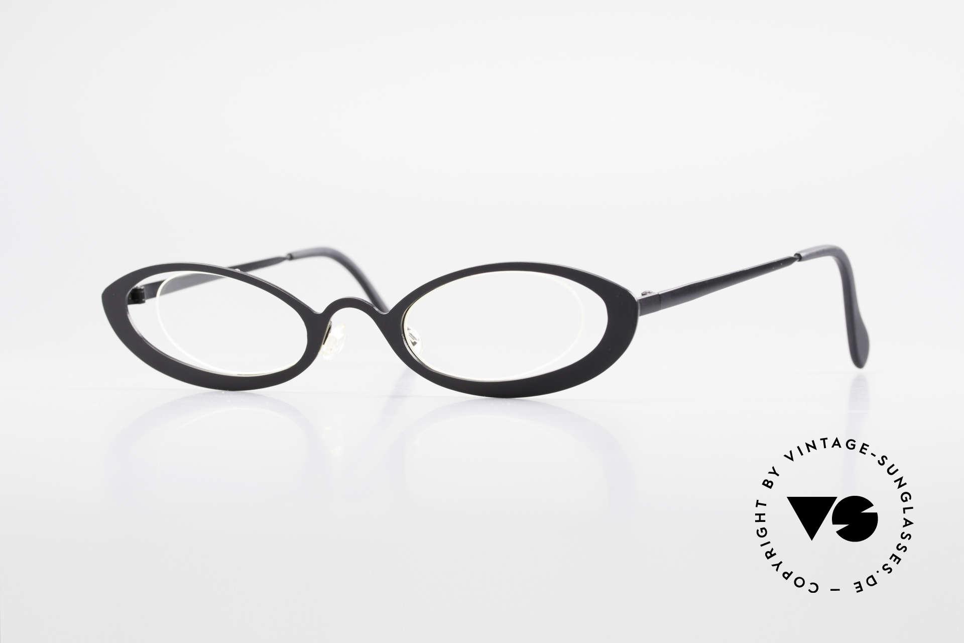 Theo Belgium RaRa Rimless 90's Cateye Glasses, vintage THEO Belgium eyeglass-frame from app. 1997, Made for Women