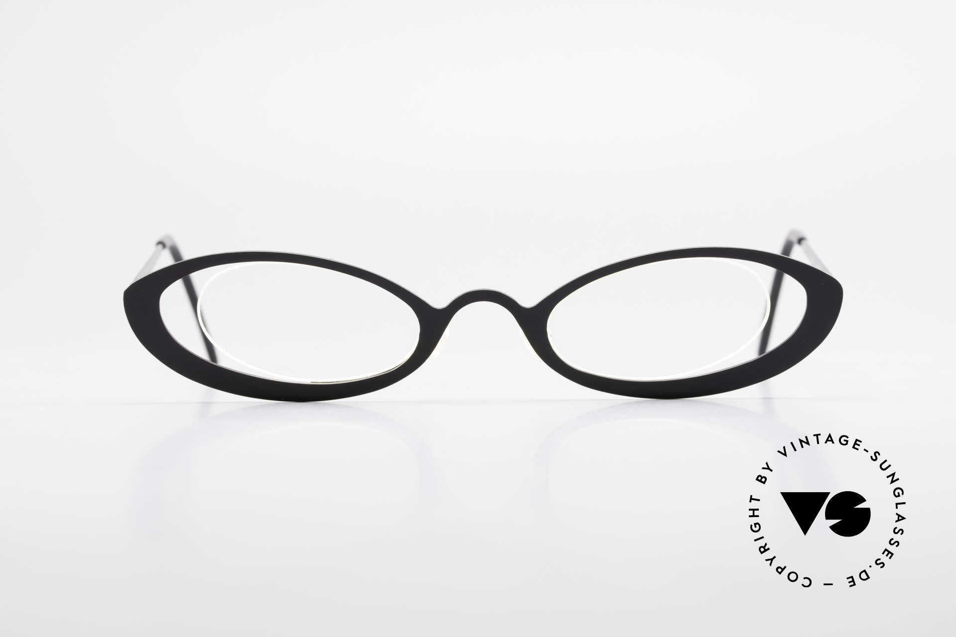 """Theo Belgium RaRa Rimless 90's Cateye Glasses, fancy model: """"rimless"""" & """"rimmed"""" at the same time, Made for Women"""