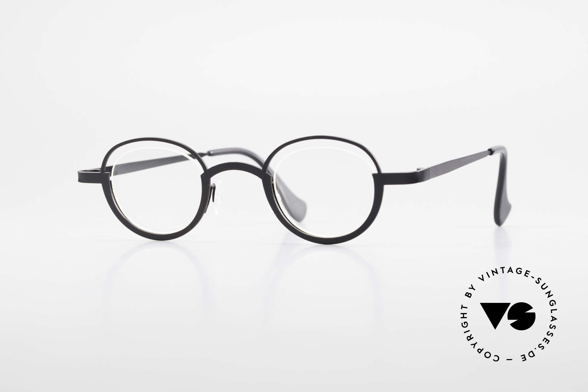 Theo Belgium Dozy Slim Rimless 90's Metal Eyeglasses, vintage THEO Belgium eyeglass-frame from app. '97, Made for Men and Women