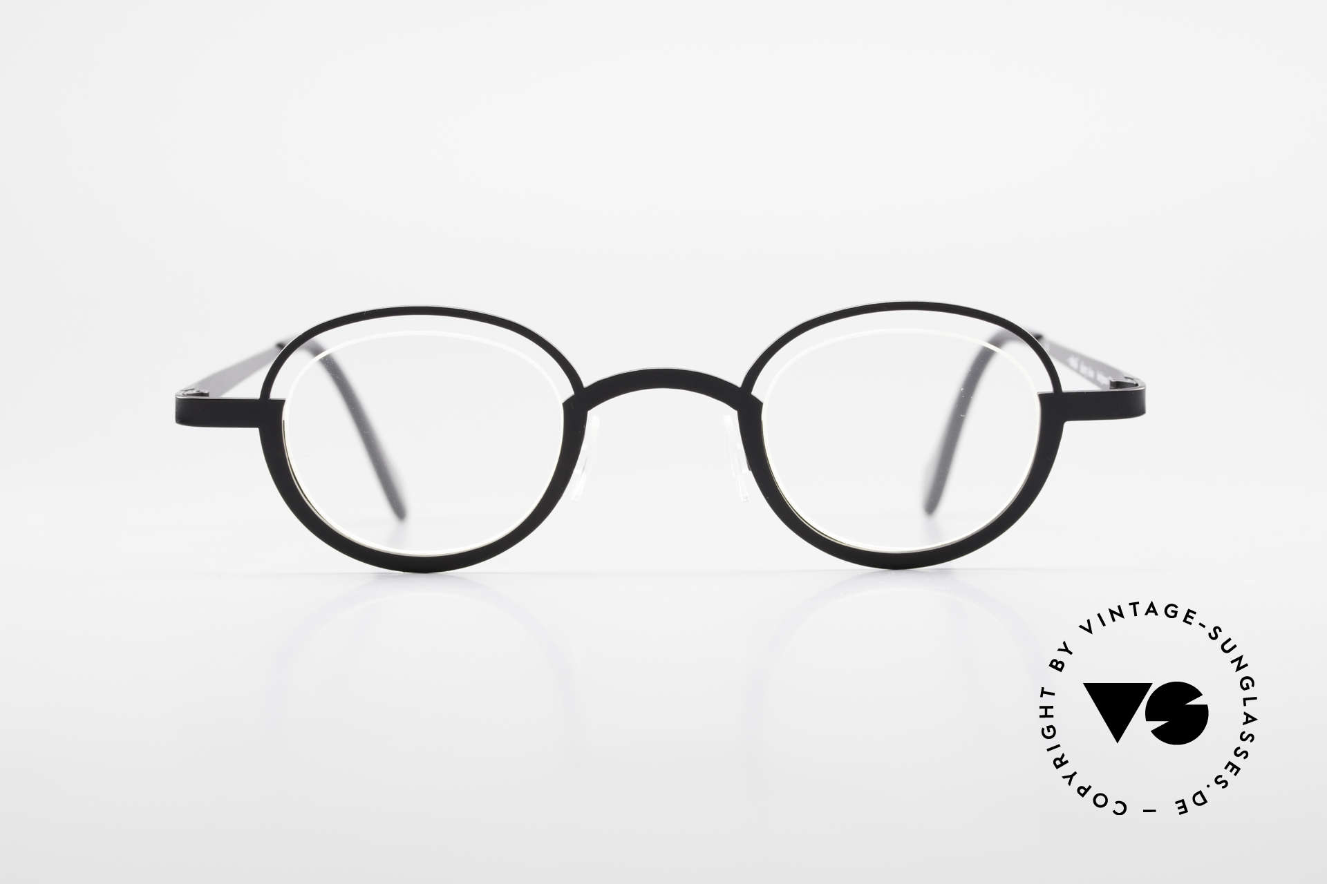 """Theo Belgium Dozy Slim Rimless 90's Metal Eyeglasses, fancy model: """"rimless"""" & """"rimmed"""" at the same time, Made for Men and Women"""
