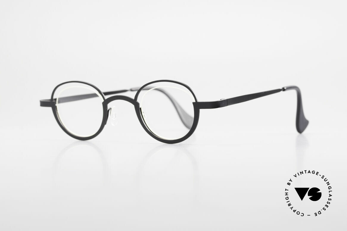 Theo Belgium Dozy Slim Rimless 90's Metal Eyeglasses, lenses are fixed with a nylor thread (truly unique!), Made for Men and Women