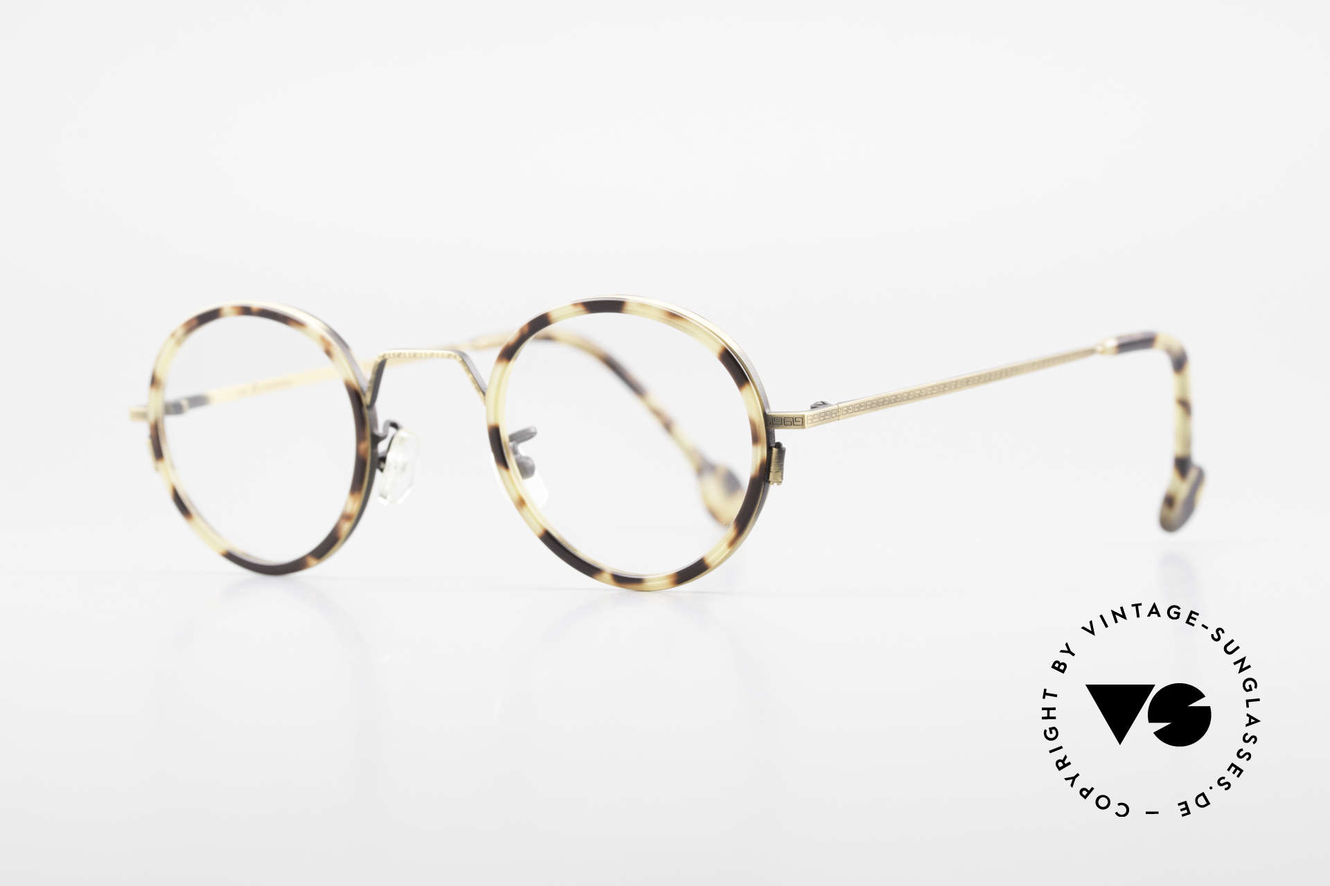 L.A. Eyeworks JO HENRY 442 Round Vintage 90's Eyeglasses, unisex frame (for ladies & gents) in brass / tortoise, Made for Men and Women