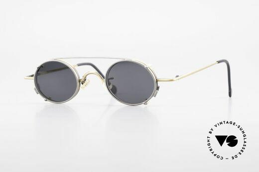 L.A. Eyeworks LINK 143 Oval Eyeglasses With Sun Clip Details