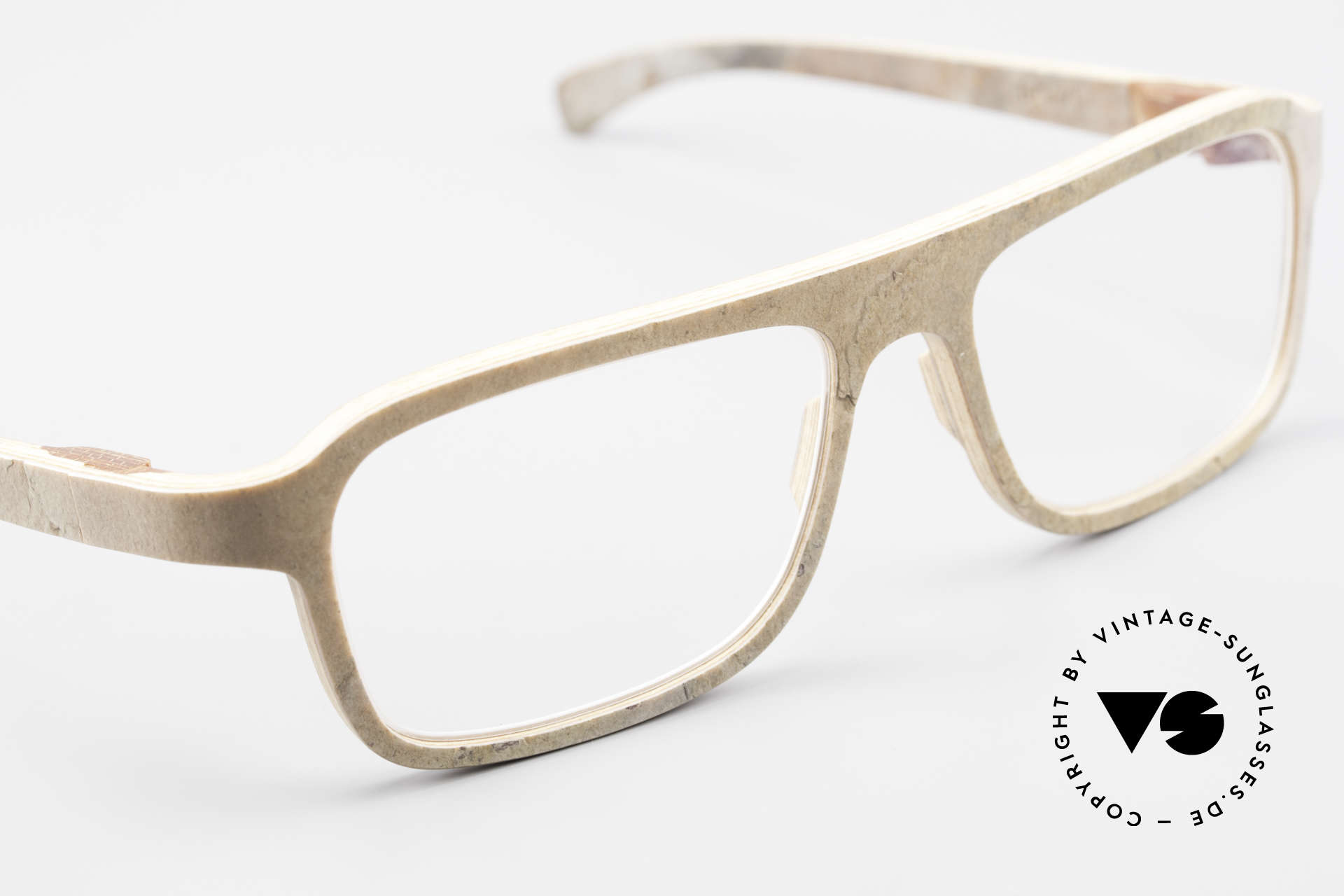 Rolf Spectacles Dino 41 Stone Eyewear & Wood Frame, unworn Original (like all our vintage Rolf Spectacles), Made for Men