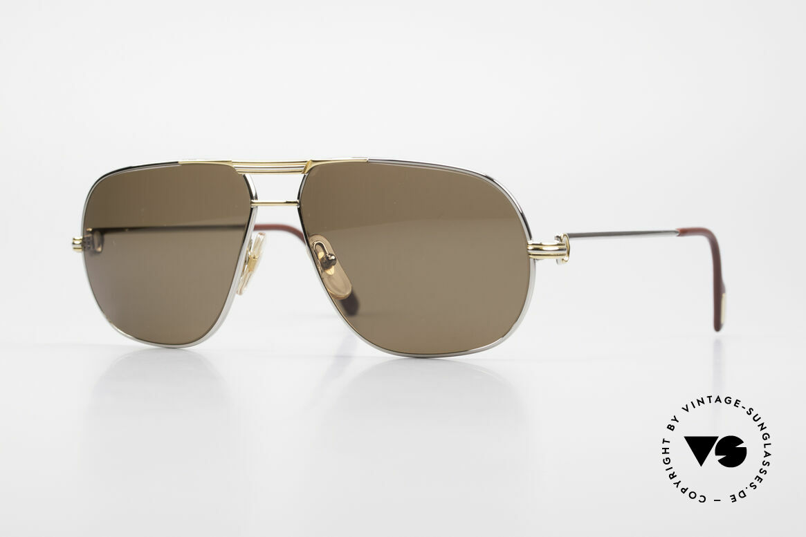 Cartier Tank - L Rare Platinum Finish Shades, orig. Cartier glasses from 1988 in LARGE size 62°14, 140, Made for Men