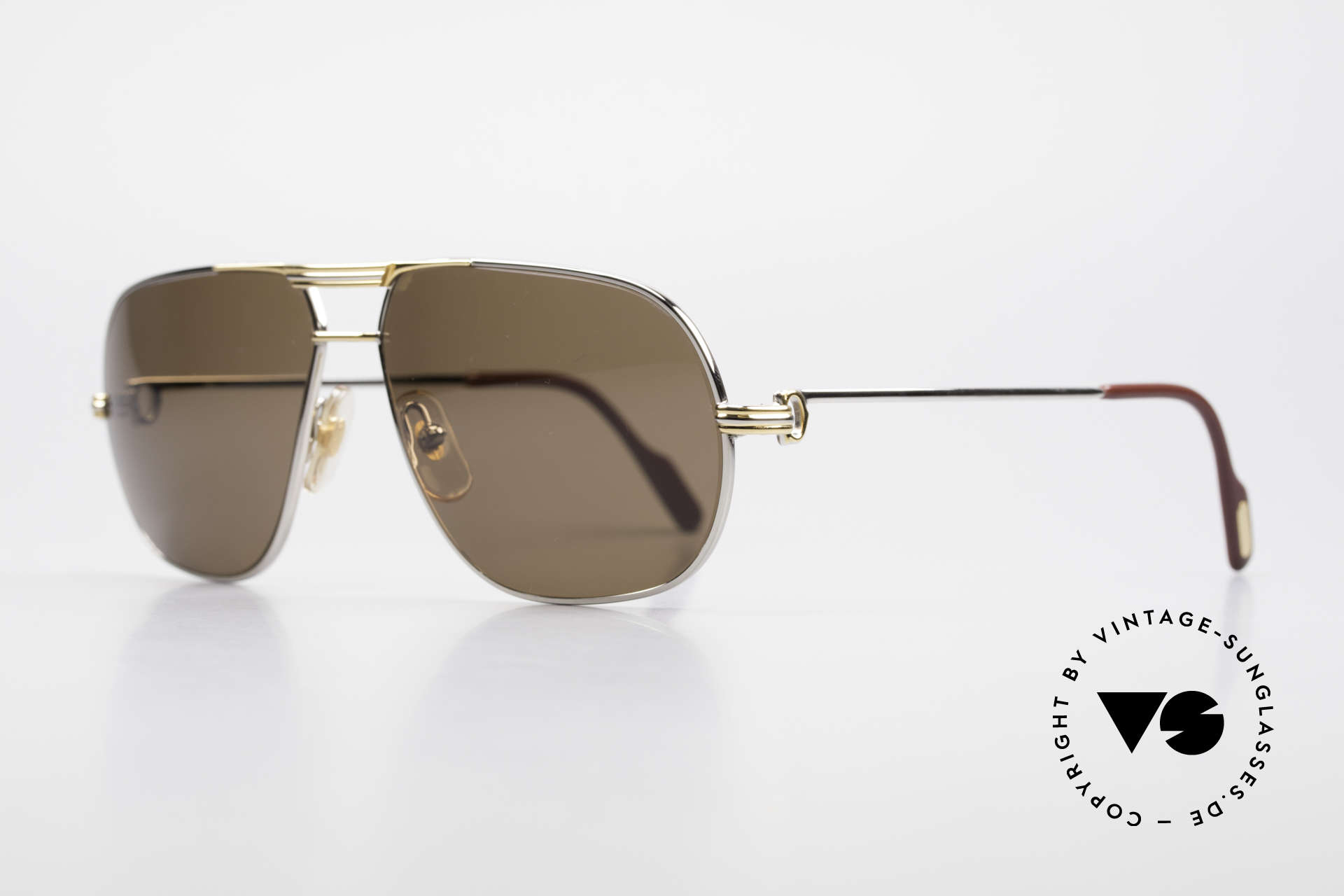 Cartier Tank - L Rare Platinum Finish Shades, with new brown-POLARIZED sun lenses; 100% UV protect., Made for Men
