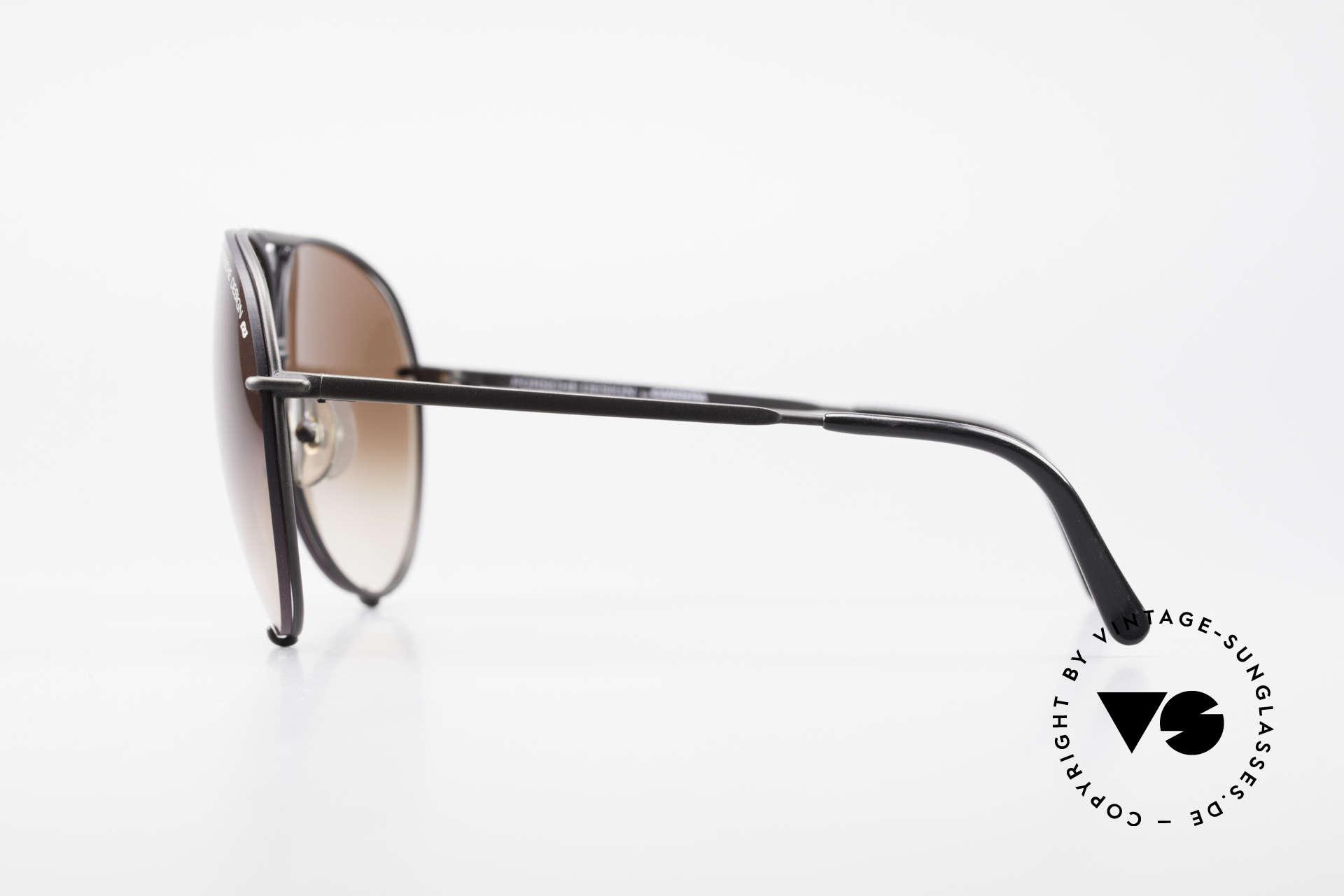 Porsche 5623 True 80's Aviator Sunglasses, matt black frame with 2 sets of lenses (brown & gray), Made for Men and Women