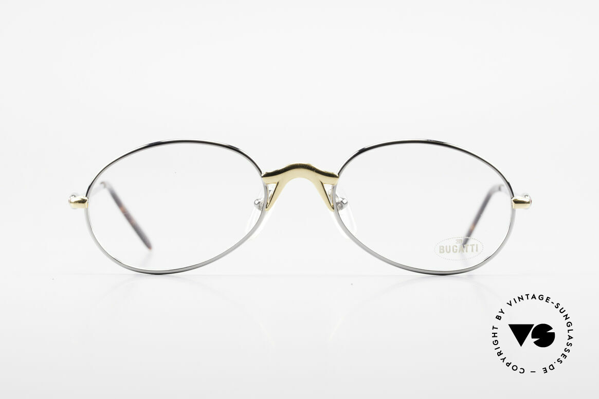 Bugatti 22126 Rare Oval 90's Vintage Glasses, classic bicolored frame finish: silver and gold-plated, Made for Men and Women